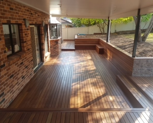 Entertaining deck with built in seating in the Hills District