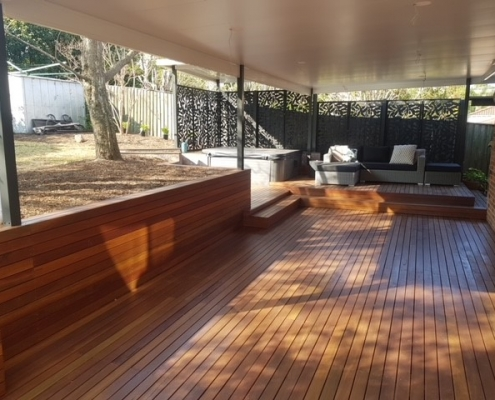 Multi-level timber deck in the Hills District