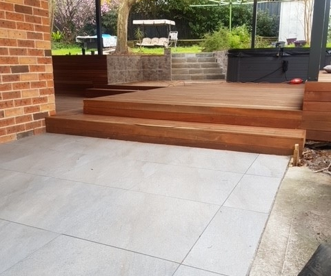 Paving and timber deck in Baulkham Hills