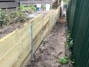 timber sleeper retaining walls in the Edgecliff
