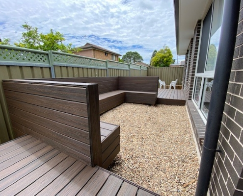 Decking and gravel area for firepit in Greystanes