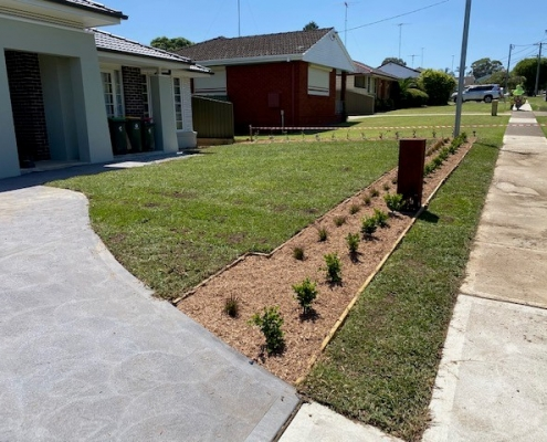 New lawn and garden beds in Greystanes