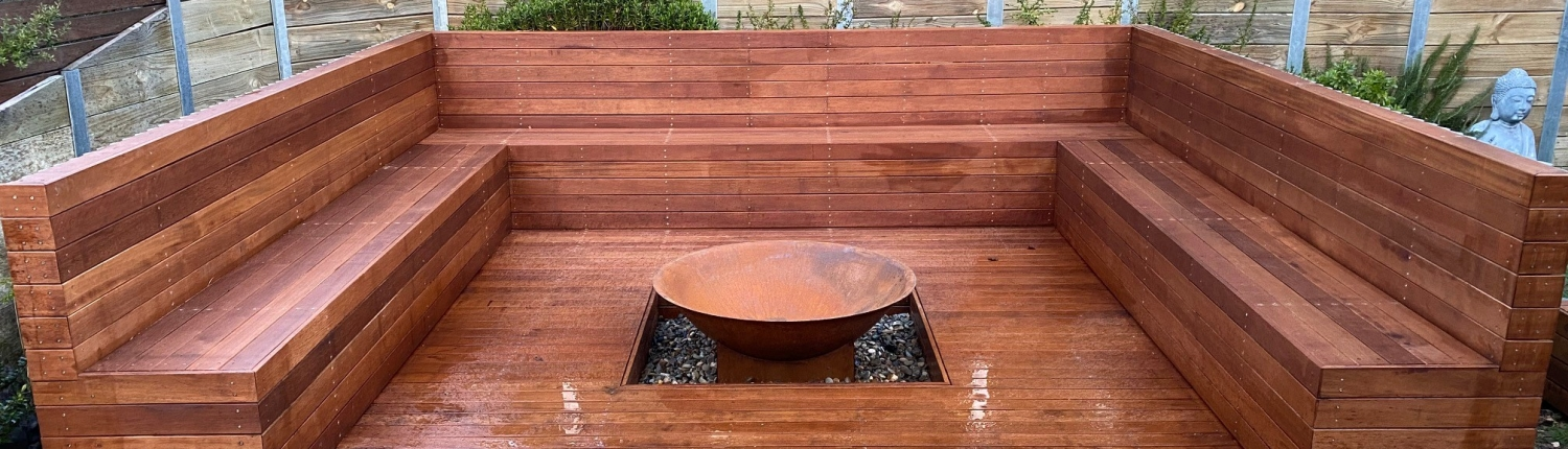Merbau deck sydney with firepit and bench seats