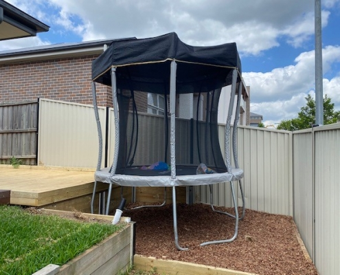 Deck and trampoline area in Kellyville