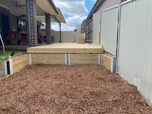 Outdoor entertaining areas, deck and garden bed in Kellyville