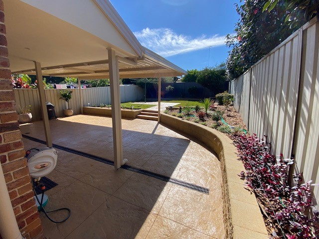 Retaining walls, garden beds and paved terrace in Kings Langley
